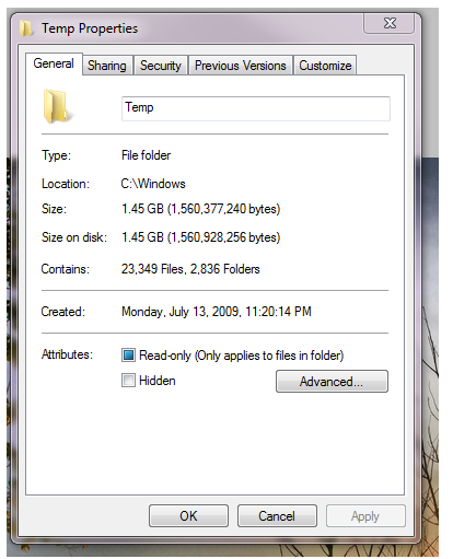 temp files, temp properties screen,